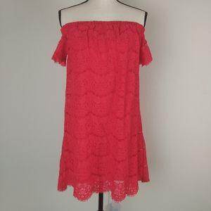 Love fire LA bright coral midi lace dress